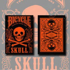 bicycle skull deck metallic orange