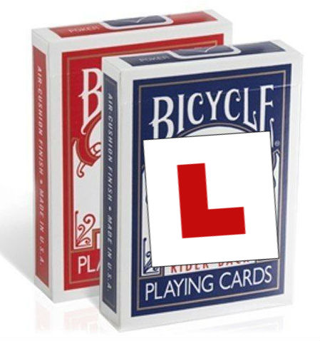 new to card magic - bicycle cards l-plates